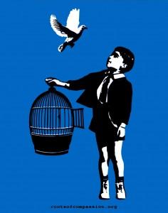 Aufkleber Vogel Käfig