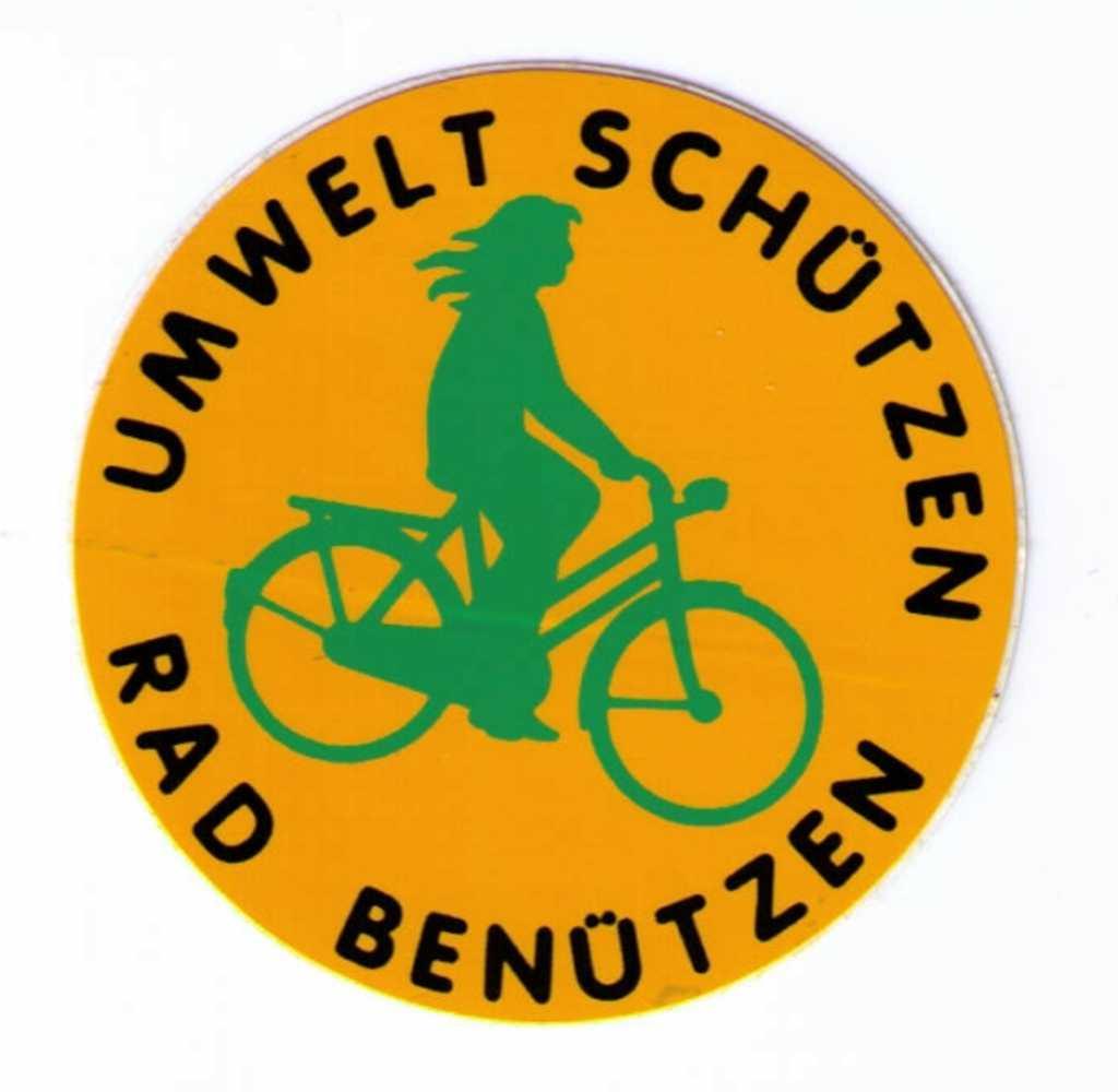Aufkleber Umwelt schützen- Rad benützen, klein (k41) | Packpapierverlag  Osnabrück