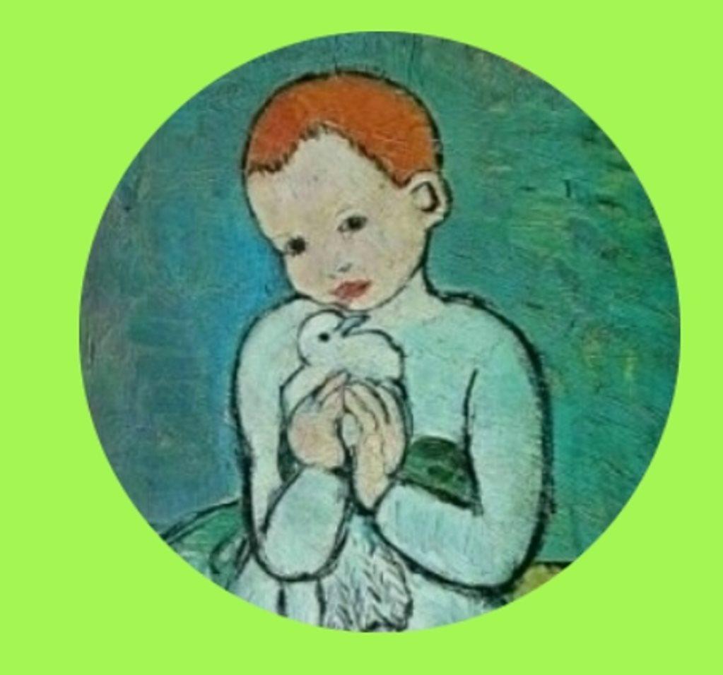 Button Picasso Mädchen mit Taube